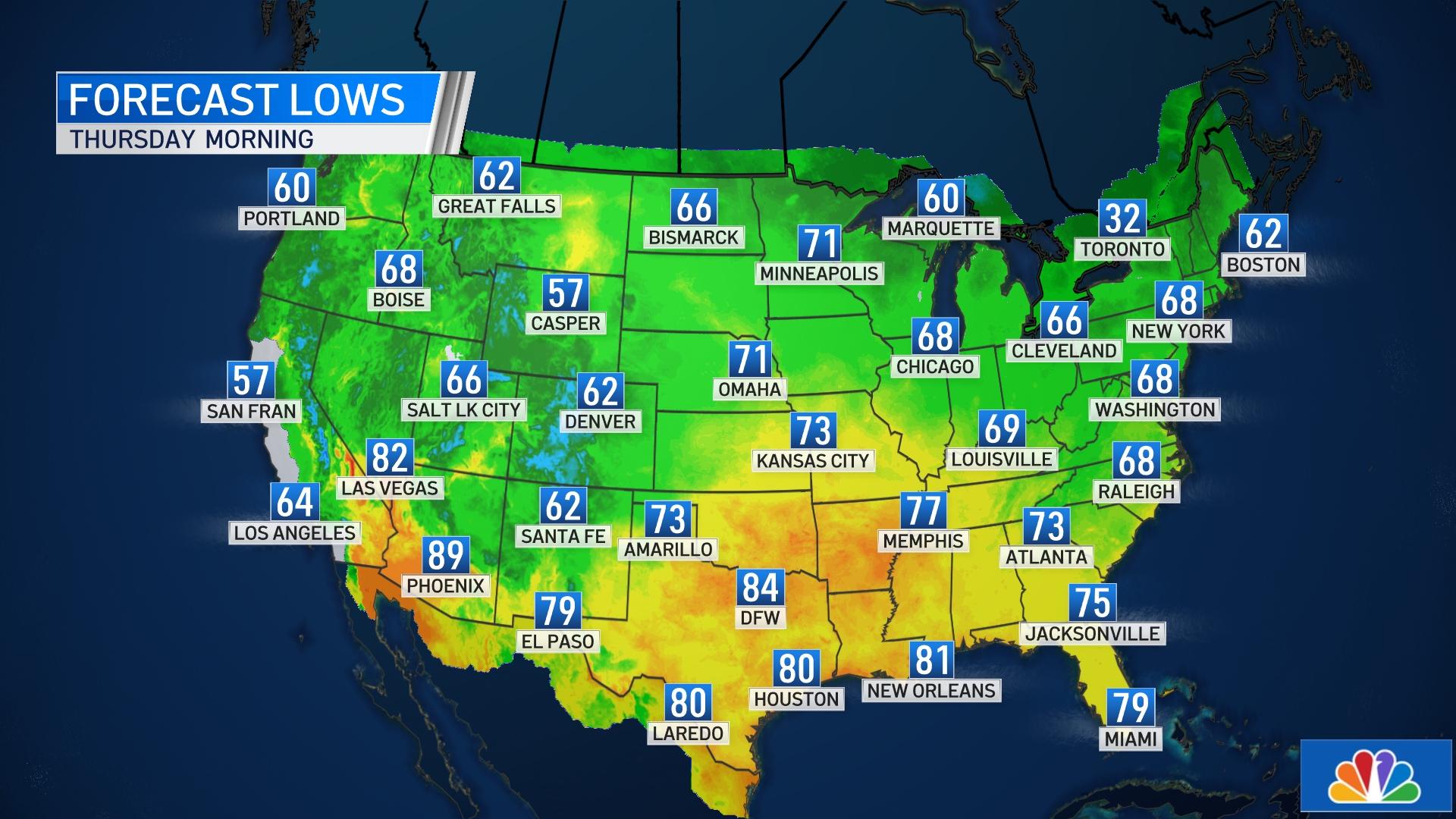 National Forecast Low Temperatures